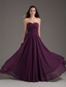 d372be57f4a Bridesmaid Dresses2019 long chiffon strapless sweetheart neckline pleated  plum maxi bridesmaid dress