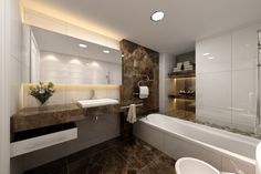 Remarkable Art Deco Bathroom Ideas That You Should Try: Inspiring Bathroom With Elegant Style Modern Bath Designs With White Bathub Toilet And Washbasin Feats Large Size Mirror Spacious ~ wiligear.com Bathroom Design Inspiration