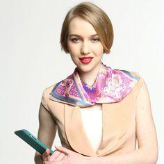 Women's Flower Print Small 100% Silk Scarf