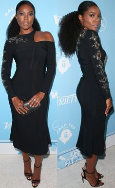 761ac0cec4360 Gabrielle Union wearing an Antonio Berardi dress and Neil J. Rodgers  ankle-strap sandals at Variety and Women in Film s 2017 Pre-Emmy party