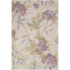 Amelia Ivory and Green Rectangular: 3 ft. 3 in. x 5 ft. 3 in. Rug - (In Rectangular)