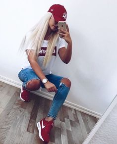 Blue jeans + red sneakers + white t-shirt