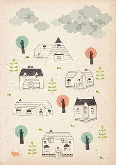 houses and clouds by stefaniamanzi on Etsy