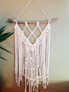 Modern macrame wall hanging made with luxury cotton on driftwood. Made to order. L50xW24