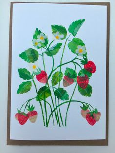 Strawberry Plant card by Tracey English Strawberry Plants, Strawberry Fields, Animal Alphabet, Cellophane Bags, Kraft Envelopes, Watercolour Painting, Card Stock, Illustration Art, Greeting Cards