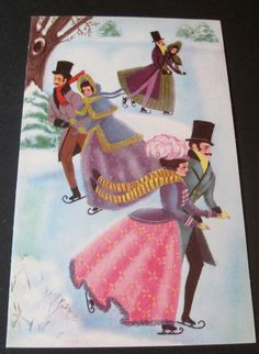 Used Vintage Christmas Card Old Fashioned Couples Ice Skating