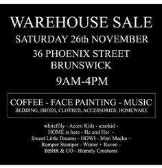 WAREHOUSE SALE Join us along with these fab stores for a massive warehouse sale on November 26th 9am - 4pm. . 20%-90% off all items. Face painting coffee and music! It's going to be a fun day out and some bargains in store for you guys! . PLUS - win a $500 voucher to spend with $50 credit to each store simply share this post with hashtag #instawarehousesale and tell us your favourite Melbourne iconic