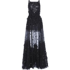 Monique Lhuillier Embroidered Tulle A-Line Gown (454,740 INR) ❤ liked on Polyvore featuring dresses, gowns, long dresses, elie saab, vestidos, embroidered tulle gown, a line dress, strapless gown, a line evening gowns and a line long dress