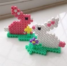 Very cute Hama Bead Bunnies I made these for my Nieces they loved them. Perler Beads, Perler Bead Art, Fuse Beads, Melty Bead Patterns, Hama Beads Patterns, Beading Patterns, Crochet Pixel, Hama Beads Design, Iron Beads