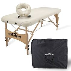 Buy STRONGLITE Portable Massage Table Package Shasta - All-In-One Treatment Table w/ Adjustable Face Cradle, Pillow & Carrying Case online - Greatshoppingideas Kids Booster Seat, Armor All, Professional Massage, Beauty Elixir, Stools With Backs, Massage Table, All In One, Beige, Vintage