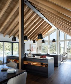Boulder Mountain Cabin / HMH Architecture + InteriorsYou can find Modern cabins and more on our website. Modern Cabin Interior, Cabin Interior Design, Cabin Design, House Design, Modern Cabins, Natural Interior, Modern Houses, Modern Wood House, Rustic Modern Cabin