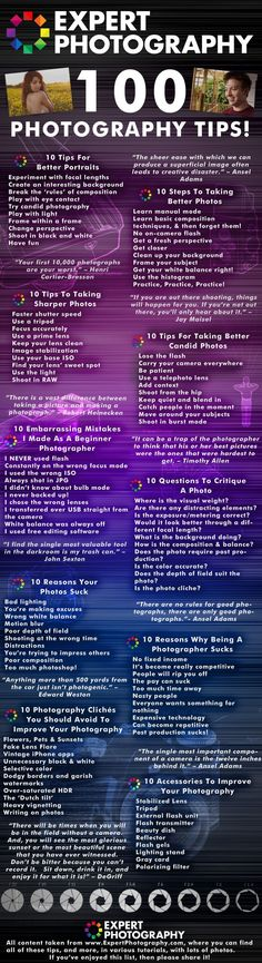 Welcome to ExpertPhotography's top 100 photography tips, picked from the best tutorials of and brought together in one place, for your ease. T - 100 Photography Tips For Seriously Better Pictures [Infographic] Photography Cheat Sheets, Photography Jobs, Photography Lessons, Photoshop Photography, Camera Photography, Photography Business, Photography Tutorials, Digital Photography, Learn Photography