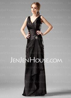 Bridesmaid Dresses - $115.99 - Sheath V-neck Floor-Length Charmeuse Bridesmaid Dress With Ruffle (007001754) http://jenjenhouse.com/Sheath-V-Neck-Floor-Length-Charmeuse-Bridesmaid-Dress-With-Ruffle-007001754-g1754