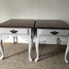 Set of 2 completely refinished vintage Queen Anne end tables. Painted with Annie Sloan's Paris Grey chalk paint. Sealed with 2 coats of clear wax. Tops have been stripped, stained and sealed with 3 coats of poly in a satin finish. Original hardware has been given a modern update. Drawers have been painted and slide easily. Solid wood. Would also ma preview image 4