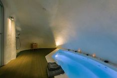 """Pyrgos Kastelli Villas is an authentic boutique cave hotel that it was dsigned by """"to the point architects"""" , etched into the rocks, in the pictures. Cave Hotel, Spa, Santorini Greece, Architecture, Villas, Modern, Room Ideas, House, Inspiration"""