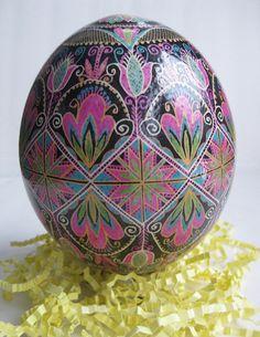 Ostrich Egg Pysanka - painted by Toronto artist Katya Trischuk Mangov Ukrainian Easter Eggs, Ukrainian Art, Carved Eggs, Egg Crafts, Egg Designs, Easter Projects, Egg Art, Egg Decorating, Photo Art