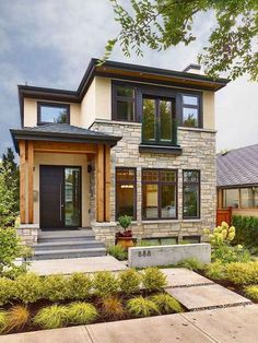 Modern House with Front Yard. 20 Modern House with Front Yard. 42 Cool and Beautiful Front Yard Landscaping Ideas On A Bud Black Trim Exterior House, Dream House Exterior, Style At Home, Adobe Haus, Modern Front Yard, Front Yard Landscaping, Landscaping Ideas, Landscaping Software, Succulent Landscaping