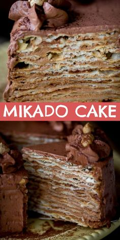 The best Mikado layer cake recipe with thin layers of flaky layers that are covered in a chocolate custard buttercream. Cake Mikado Layer Cake with Chocolate Custard Buttercream Layer Cake Recipes, Dessert Recipes, Layer Cakes, Poke Cakes, Chocolate Custard, Chocolate Cherry, Recipe Of Chocolate Cake, Pear Cake, Fancy Cakes