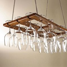 Attractive home bar accessories, storage ideas for wine glasses, hanging shelves made of wood