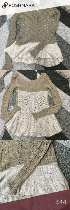 FP open knit sweater Cute crochet sweater with cozy knit flowy back. Two tone army green and beige. In great used condition.  Please check out my closet, lots of Free People, Prana, lulu and teeki! Free People Sweaters V-Necks