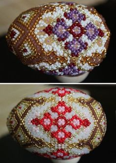 Схема оплетения пасхального яйца бисером. | OK.RU Seed Bead Flowers, Beaded Flowers, Cross Stitch Rose, Cross Stitch Flowers, Embroidery Hoop Art, Beaded Embroidery, Egg Designs, Seed Bead Earrings, Seed Beads