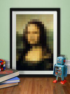 Mona Lisa Abstract Portrait, Da Vinci Modern Poster, Printable Pixel Art Print, Digital Illustration, Download, Home Decor, Nursery, Design