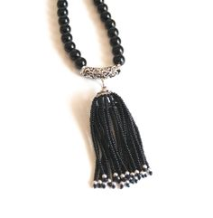 Black Onyx Tassel Necklace  Tassel Necklace  by ferozasjewelery, $130.00