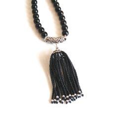 Black Onyx Tassel Necklace  Tassel Necklace  by ferozasjewelery, $130.00