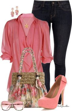 LOVE this coral pink top with the skinny jeans..ditch the purse