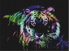 Counted Cross Stitch Pattern, Fractal Tiger, Instant Download, PDF Pattern,