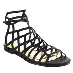 """""""CiCi"""" perfect gladiator caged sandal CiCi is the perfect trendy gladiator caged sandal. Featuring: open toe, caged design, exposed heel and adjustable ankle strap.  Brand: Liliana Heel Height: 0.6  Platform: 0.5 Material: Faux Leather  Fits True to Size Liliana Shoes Sandals"""