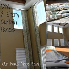 A step by step tutorial of Two Story Curtain Panels. These panels are 18 feet long, but the concept could be used for any length of decorative panel