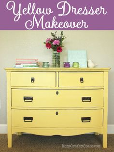 Vintage yellow painted dresser refinish makeover at MomsCraftySpace.com; great hardware