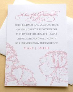58 best funeral thank you cards images on pinterest funeral thank you cards with pink carnations personalized flat cards 3 12 x 4 78 thecheapjerseys Image collections