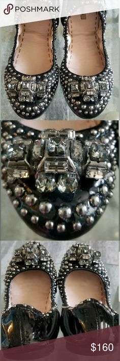 Miu Miu Black Patent Leather Crystal Bow Flats Miu Miu Black Patent Leather Studded Crystal Bow detailed flats gorgeos in person used very good condition only a bit of wear on heels that you can see on pictures Miu Miu Shoes Flats & Loafers