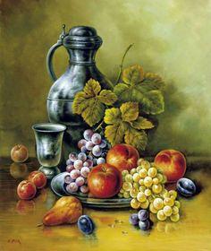 Corrado Pila - Still Life With Plums Still Life Fruit, Fruit Painting, Painting Still Life, Fruit Art, Art Pictures, Food Art, Framed Artwork, Art Gallery, Art Prints
