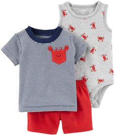 Find Carter's Baby Boys' Little Short Sets online. Shop the latest collection of Carter's Baby Boys' Little Short Sets from the popular stores - all in one Carters Baby Boys, Baby Kids, Toddler Boys, Baby Boy Fashion, Kids Fashion, Baby Boy Outfits, Kids Outfits, Luxury Baby Clothes, Gender Neutral Baby Clothes