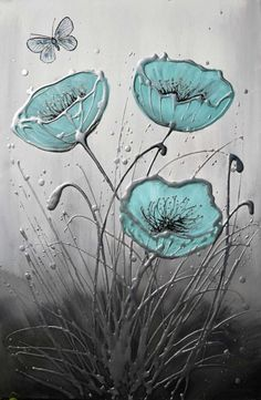 ARTFINDER: Pearl Poppy Dance by Amanda Dagg - Original duck egg blue poppy painting on canvas with a butterfly. Textured with silver, grey black background. Deep edge canvas - ready to hang from parcel b...
