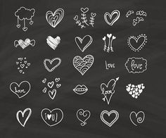 Chalkboard Hearts Clip Art | Hand Drawn Clip Art | Digital Hearts Clipart | Chalk Drawing Wedding Invitation | [001]