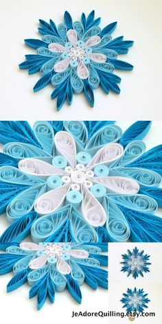 Snowflakes Blue Frosty Frozen Christmas Tree Decoration Winter Ornaments Gifts Toppers Fillers Office Corporate Paper Quilling Quilled Art