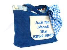 "Promotional Tote ""Ask Me About My Etsy Shop"" - pinned by pin4etsy.com"