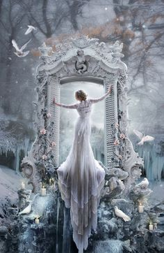 Standing at Her pedestal, observing the World She created below Her.