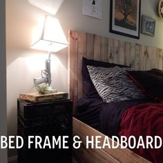 DIY pallet headboard and bed frame