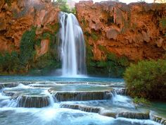 On the Havasupai Indian Reservation within Grand Canyon National Park in Arizona you will find the gorgeous Havasu Falls. Description from yangpahamsaja.blogspot.com. I searched for this on bing.com/images
