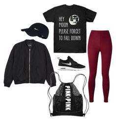 """""""M"""" by butnotperfect ❤ liked on Polyvore featuring NIKE, Monki and Victoria's Secret"""