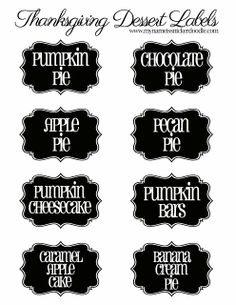 Free #printable #Thanksgiving dessert #labels to make your dessert table look amazing! delici food, dessert label, printabl thanksgiv, dessert delici, names, thanksgiving foods, thanksgiv dessert, healthy desserts, thanksgiving desserts