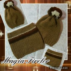 Brown crochet hat, set caciulita si fular circular