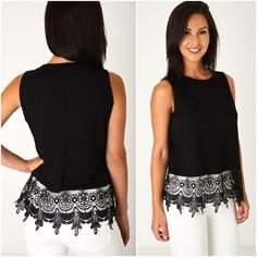 Womens Black Lace Hem Sleeveless Top T-Shirt Tee Vest Tank Summer UK 8 10 2 4 16 #ExBranded #VestTop #AnyOccasion Summer Tank Tops, Tee Shirts, Vest, Clothes For Women, Lace, Stuff To Buy, Fashion, Summer Tops, Outerwear Women