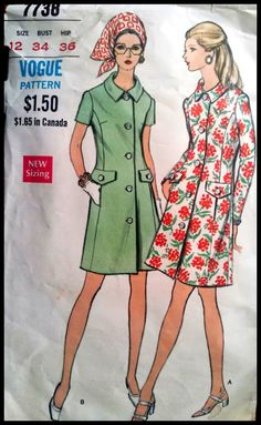 Vogue 7738  Misses' One Piece Dress  Size 12 by ThePatternShopp