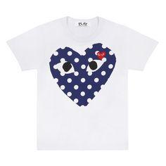 3c2104213f Play Comme des Garçons Polka Dot Big Heart T-Shirt (White)